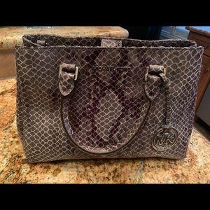 Michael Kors gray snakeskin satchel.